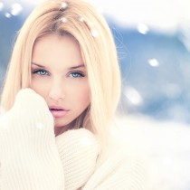 beautiful blonde freezing outdoors in winter